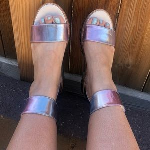 ASOS iridescent silver wide ankle strap sandals
